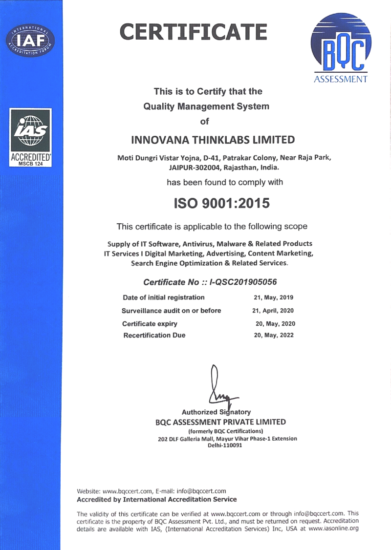 Innovana Thinklabs Limited Gets ISO 9001 Certified
