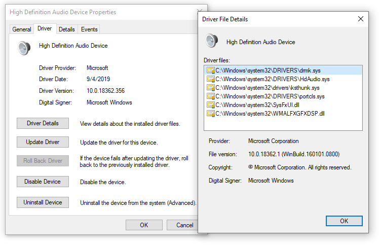 Audio driver with Device Manager