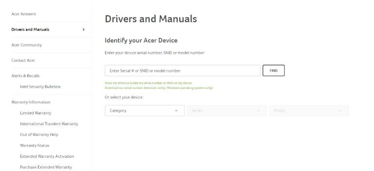 Acer driver download