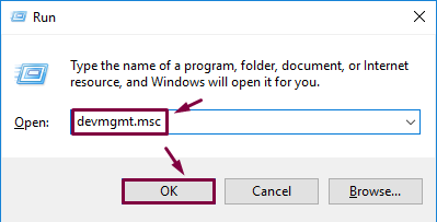 Open device Manager by the Run window