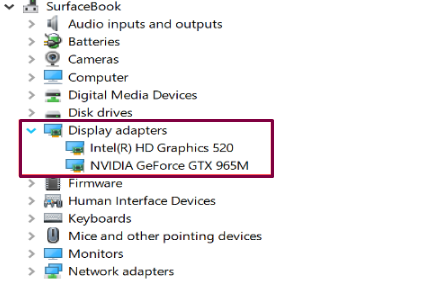 Display adapters for Graphics fix on Windows in Device manager