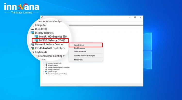 Reinstall graphics driver on Windows 10