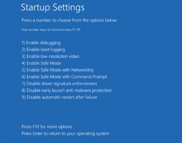 Restart for Safe mode to Windows BSOD Troubleshoot next step