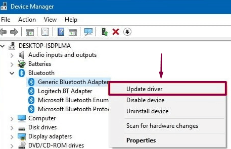 Update Bluetooth Drivers with Device Manager
