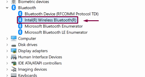 reinstall wireless bluetooth driver from device manager