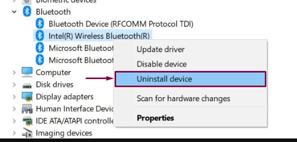 uninstall wireless bluetooth device from device manager