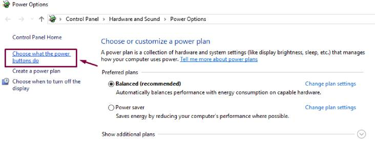 Choose what the power buttons do from power option