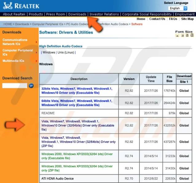 Realtek website and download audio driver