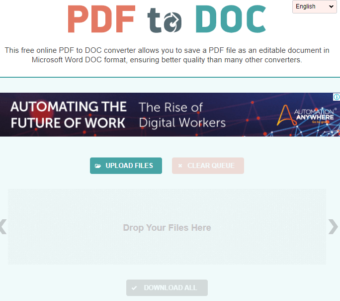 Use PDF to Word online with PDF2Doc