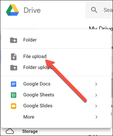 Upload files in Google Docs to convert PDF to word