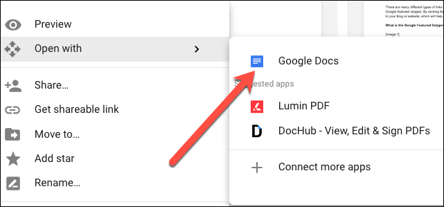 Convert PDF to Word through Google Docs