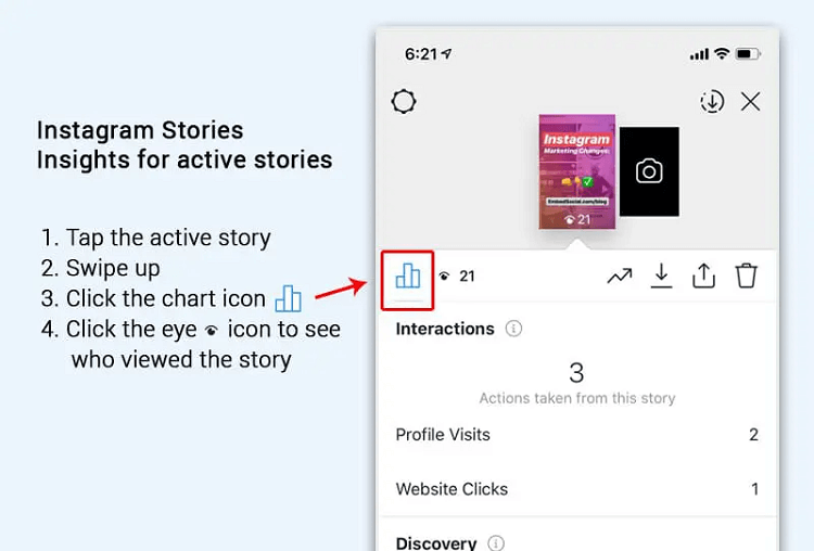 Check the story analytics via stories