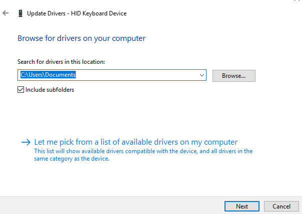 Update windows drivers manually from the manufacturer