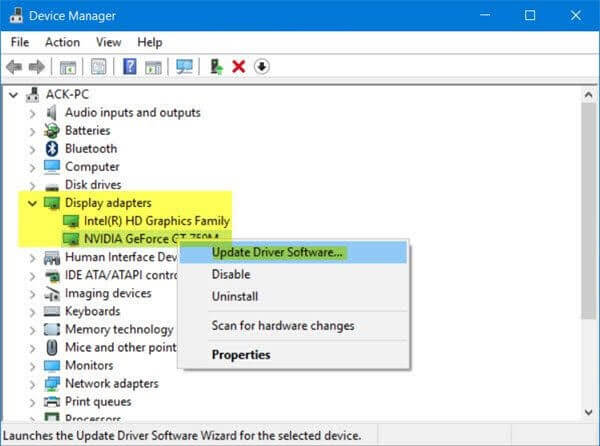 Use Device Manager to Update windows drivers