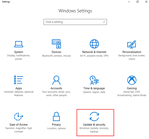 windows update and security setting