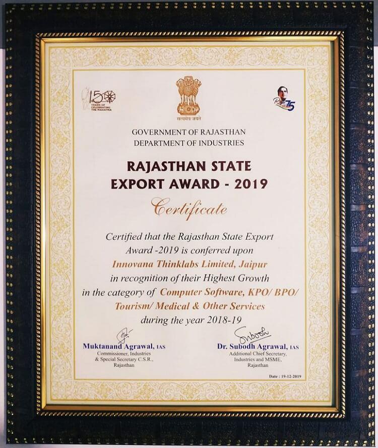 Rajasthan State Export Award 2019- Innovana Certificate