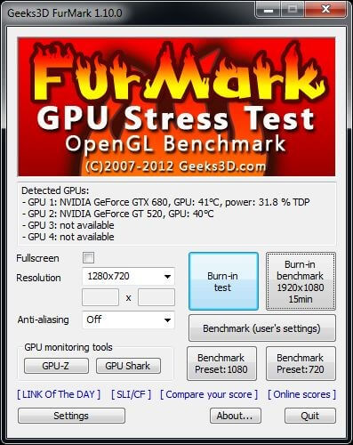 FurMark - best gpu benchmark for windows 10