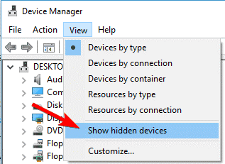 Uninstall the hidden devices-1