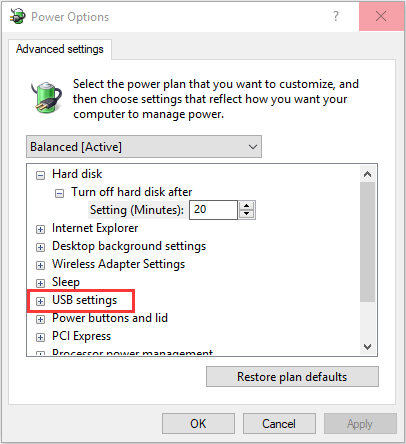 Disable the selective suspend settings -5