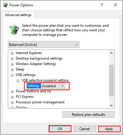 Disable the selective suspend settings -6