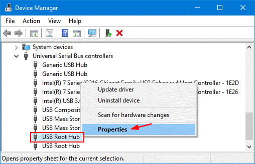 Fix the USB root hub-1