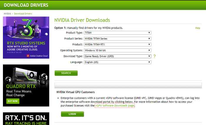 Download the driver from the official NVIDIA website