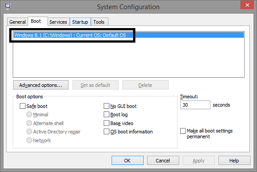 Run Your PC in Safe Mode - Select one operating system you have more OS