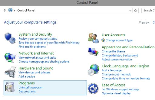 Uninstall Graphics Driver - click on programs