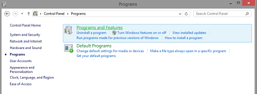 Uninstall Graphics Driver - control panel click on uninstall programmes