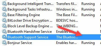 Ensure that the Bluetooth service is enabled