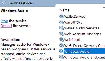 Look for 'Windows Audio