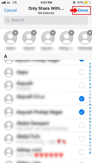 Steps to show WhatsApp status to selected someone-2