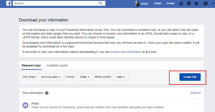 Download Information of Your Facebook Account on desktop-5