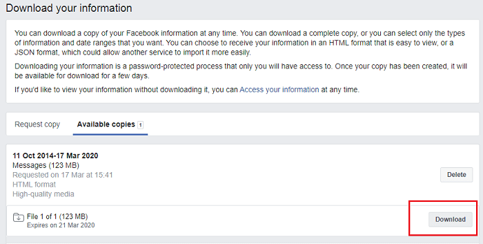 Download Information of Your Facebook Account on desktop-7