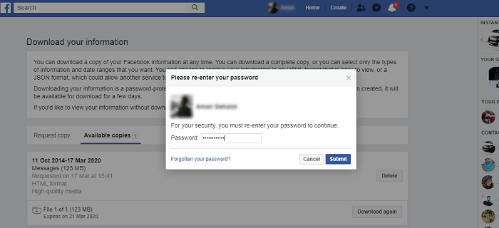 Download Information of Your Facebook Account on desktop-8