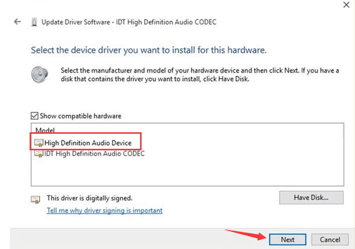 Install the IDT high definition audio driver again with Device Manager-6