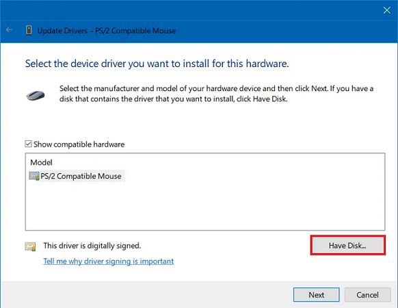 Use the Have Disk option