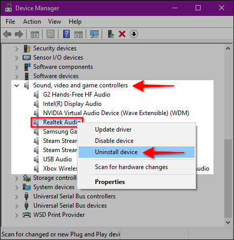 Reinstall the Realtek audio driver
