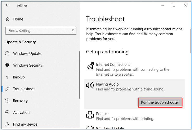 Run the audio troubleshooter-1