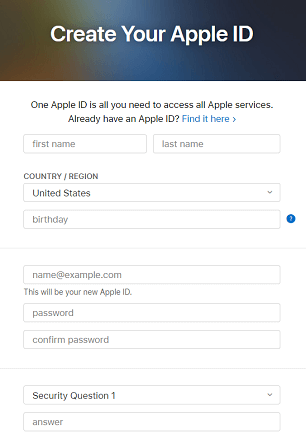 enter details for create apple id