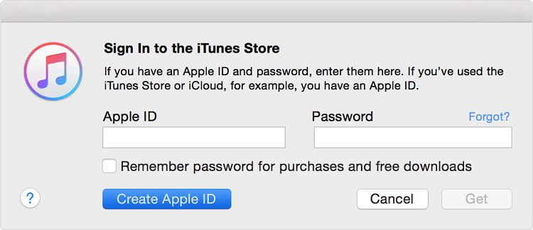 Create Apple ID from itunes