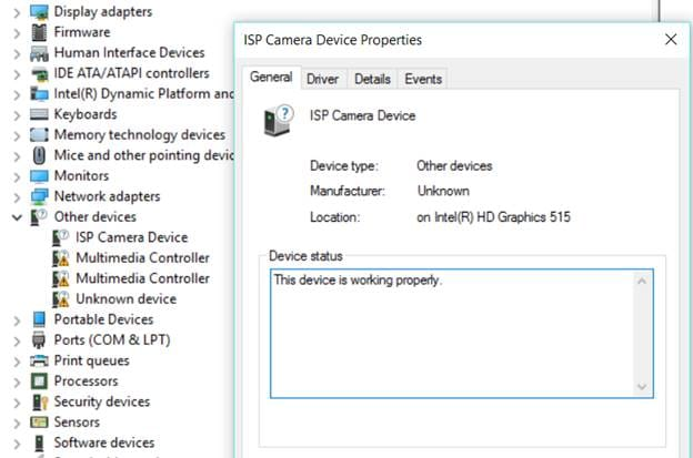 device status properties in device manager