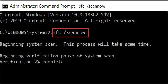sfc scannow command in CMD