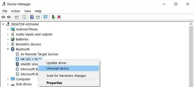 uninstall device from device manager