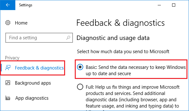 Change the diagnostic and usage data settings-1