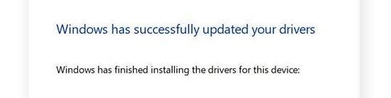 windows has successfully updater your drivers
