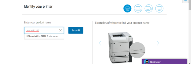 Enter LaserJet P1102 in search box