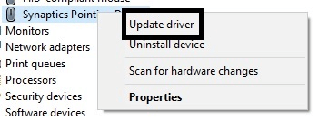 right-click your touchpad and select update driver