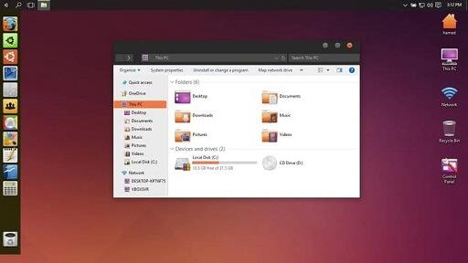 Ubuntu SkinPack- Amongst highly customizable Windows 10 themes