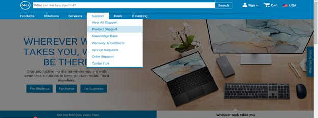 Support tab and select Product Support from dell official site